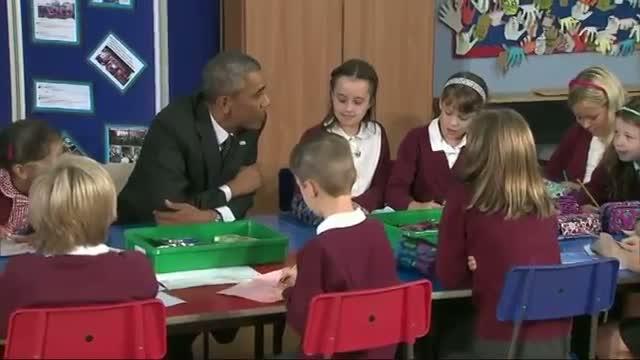 Obama Meets UK Schoolkids