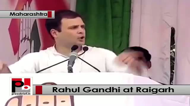 Rahul Gandhi at Raigarh in Maharashtra attacks BJP and Centre