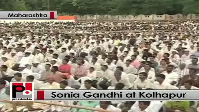 Sonia Gandhi at Kolhapur in Maharashtra says BJP, Shiv Sena spread hatred in society