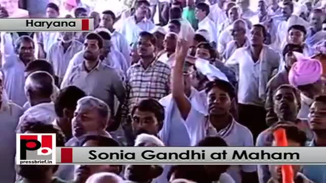 Sonia Gandhi at Meham, Haryana hits out at Narendra Modi