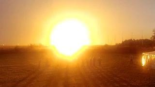 Antares rocket explosion seen from press site