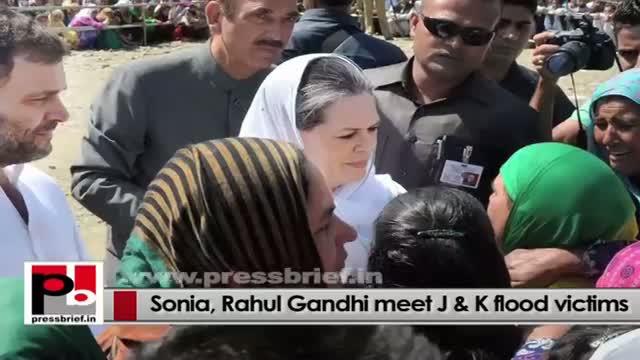Congress President Sonia Gandhi, Rahul Gandhi meet people at flood-hit J&K