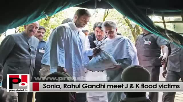 Congress President Sonia Gandhi, party Vice-president Rahul Gandhi meet people at flood-hit J&K