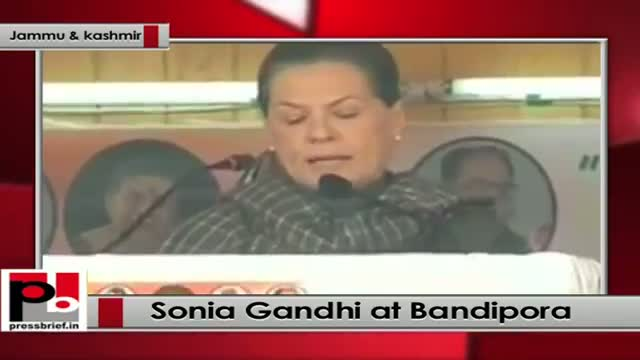 Sonia Gandhi addresses rally at Bandipora, J&K: Congress does not believe in divisive politics