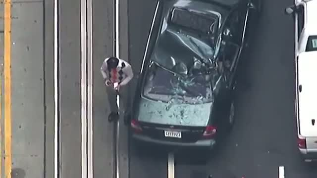 San Francisco Window Washer Falls Onto Car