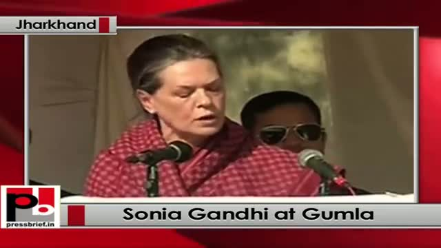Sonia Gandhi in Gumla at Jharkhand, appeals people to support Congress