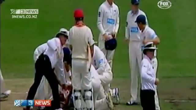 Phil Hughes Struck On Head - In Critical Condition - ORIGINAL VIDEO