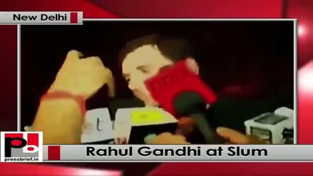 Delhi: Rahul Gandhi meets evicted people in slum, dares govt to run bulldozer over him