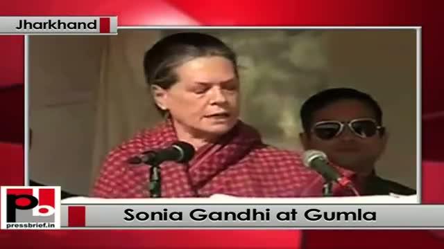 Jharkhand polls: At Gumla, Sonia Gandhi slams BJP