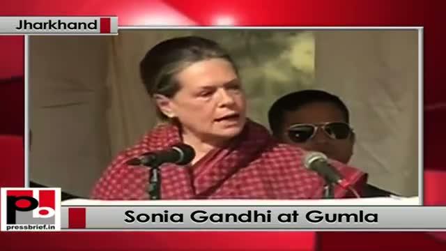 Jharkhand polls: At Gumla Sonia Gandhi hits out at Modi govt, BJP