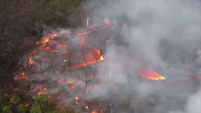 Hawaii Lava Flow Nears Highway Video