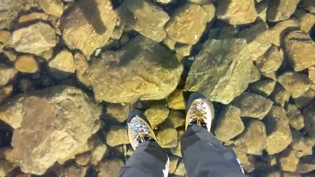 Walking on beautiful clean ice in Slovakian Mountains Video