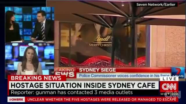 Sydney Martin Place Cafe Siege Hostage Taker Demand ISIS Flag (VIDEO)!!!
