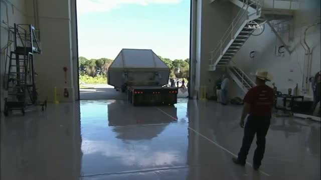 NASA's Orion Spacecraft Arrives by Truck Video