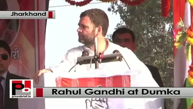 Jharkhand polls - Rahul Gandhi slams Modi at a Congress poll rally in Dumka