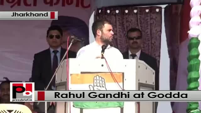 Jharkhand - At Godda rally, Rahul Gandhi slams 'pro industrialist' Modi