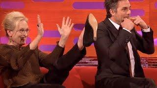 James McAvoy & Mark Ruffalo Ride Unicycles on The Graham Norton Show, Impress Meryl Streep Watch