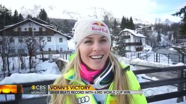 Skier Lindsey Vonn breaks World Cup wins record