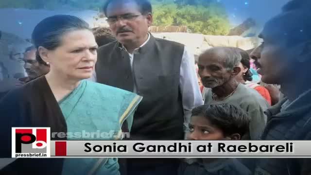 Sonia Gandhi visits Raebareli, reviews progress of development works