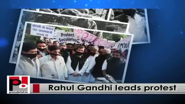 Rahul Gandhi leads protest against Narendra Modi-led BJP govt