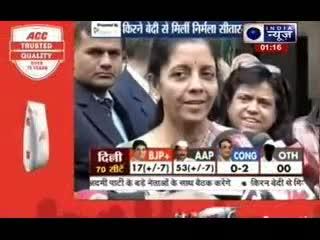Delhi Assembly Elections 2015: Nirmala Sitharaman meets Kiran Bedi