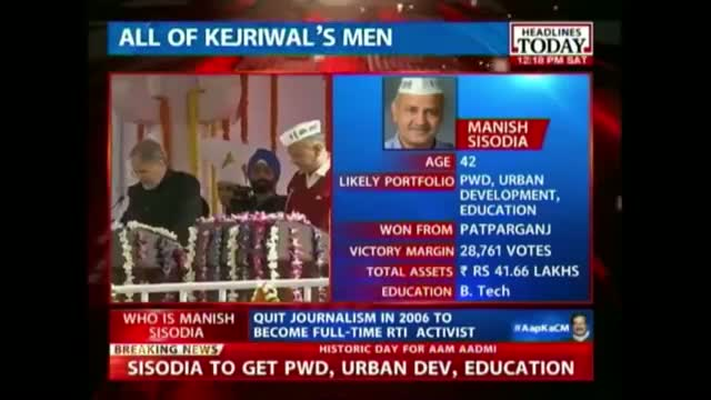 Kejriwal swearing-in: Manish Sisodia takes oath