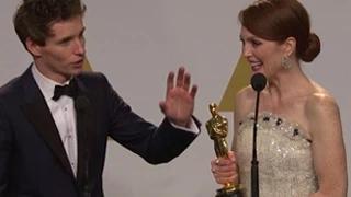 Eddie Redmayne & Julianne Moore's Interview After Winning Oscars 2015 Best Actor & Actress