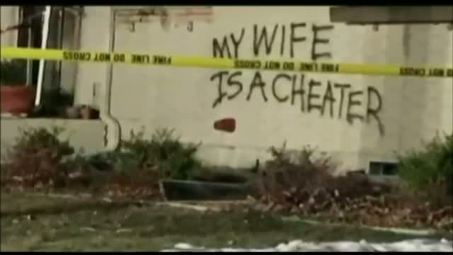'My Wife Is a Cheater' Painted on Burned Home