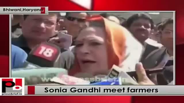Sonia Gandhi meets farmers in Haryana's Bhiwani district