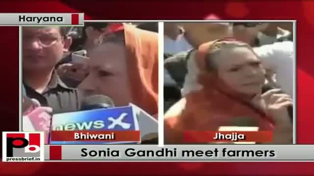 Sonia Gandhi meets farmers in Haryana