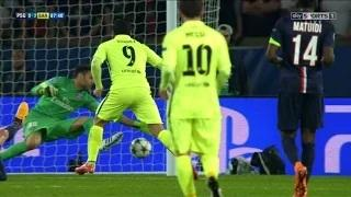 PSG vs Barcelona 1-3 - Luis Suarez goal 15-04-2015