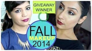 Fall Makeup Blue Gold Eye Makeup Collaboration with Makeupwithraji + Fall Outfit+ Giveaway Winner