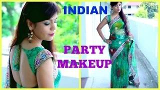 Indian Party Makeup Smokey Emerald Green Gold Makeup Tutorial + Indian Saree Outfit