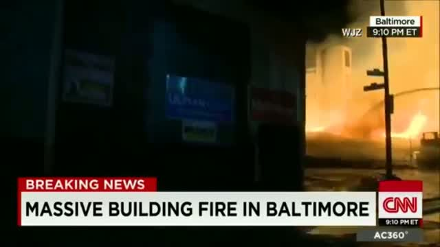 Rioters Set Senior Center on fire after riot in Baltimore; Heavy smoke in air Raw Video