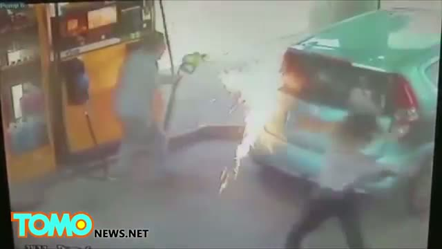 Crazy woman sets gas pump on fire after man refuses to give her a cigarette