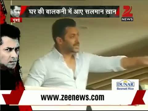 Salman Khan waves to fans from his balcony
