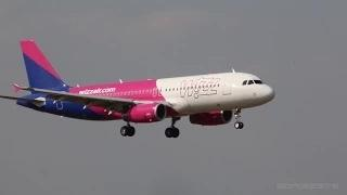 Wizz Air first Airbus A320 in new color scheme (HA-LPW) landing at Ferihegy
