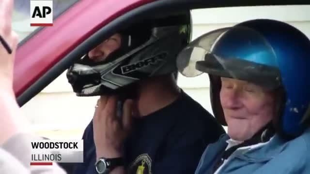 Man Fulfills Bucket List Crashing Through Garage