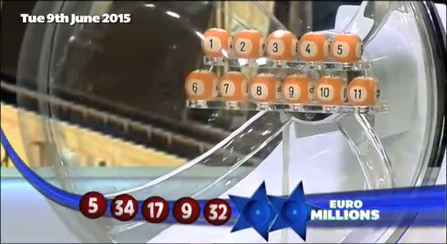 The National Lottery Tuesday 'EuroMillions' draw results from 9th June 2015