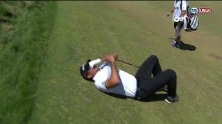 Jason Day falls after becoming dizzy - 2015 U.S. Open highlights