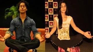 Tiger Shroff & Kriti Sanon's Yoga || World Yoga Day 2015
