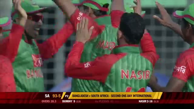 Nasir Hossain gets du Plessis, Rossouw and Abbott - Ban vs SA 2nd ODI 2015