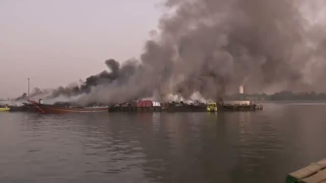 Fire Engulfs Ships Along Dubai Waterway