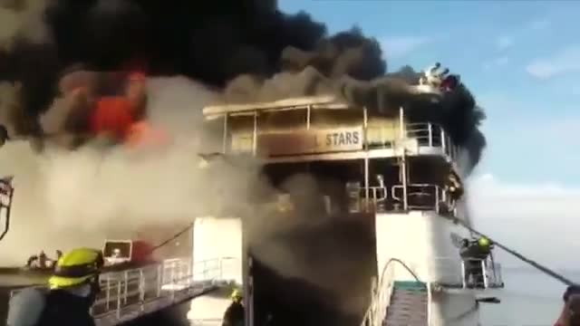 Fire Engulfs Philippine Ship; Hundreds Safe