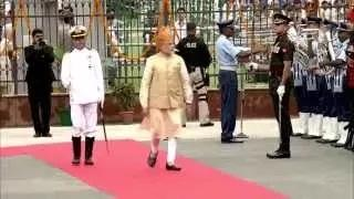 PM Modi inspects the Guard of Honour at Red Fort on 69th Independence Day