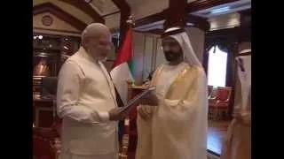PM Modi meets Vice-President & Prime Minister of UAE, HH Mohammed bin Rashid Al Maktoum in Dubai