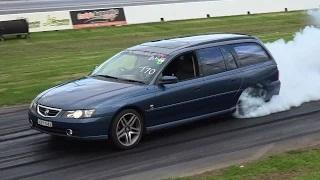 COMMODORE WAGON BURNOUT AT SYDNEY DRAGWAY