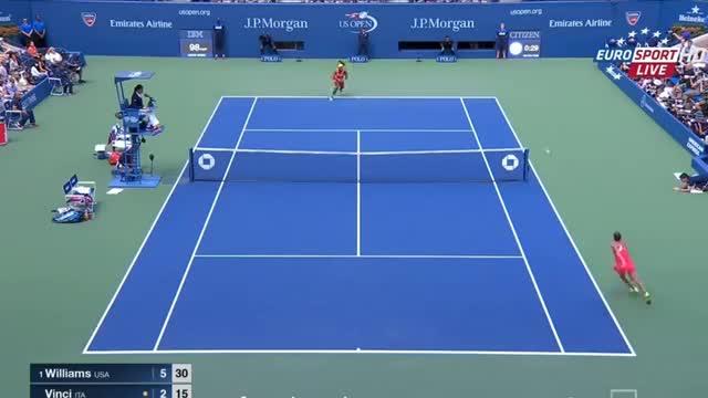 Serena Williams vs Roberta Vinci Amazing Point US OPEN 2015