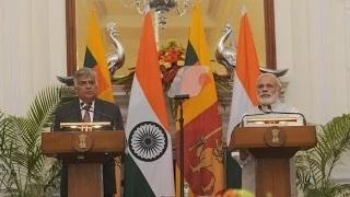 PM Modi and Sri Lankan PM Ranil Wikremasinghe at the Joint Press Statement in New Delhi