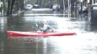 Raw: South Carolina Residents Kayak in Streets